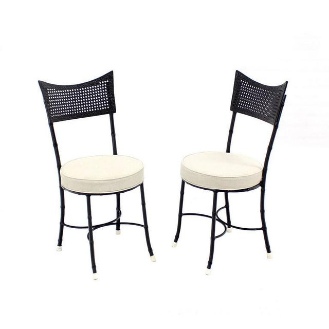 Cast Aluminum Faux Bamboo and Cane Round Seat Chairs - Set of 4 For Sale - Image 9 of 11