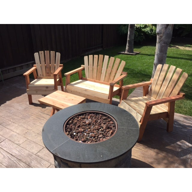 Natural Redwood Patio Set - Set of 4 - Image 9 of 11