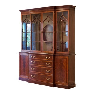 Traditional Henkel-Harris Mahogany China Cabinet - 2 Pieces For Sale