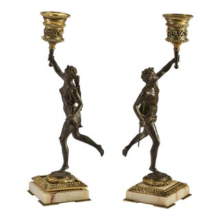 Group of French Bronze Candleholders