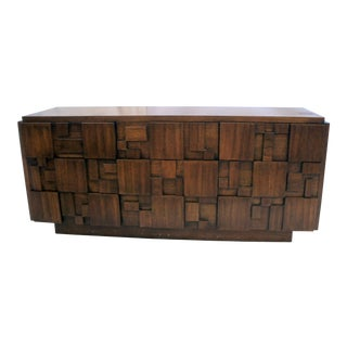1960s Brutalist Lane Mosaic Series Cubist 9 Drawer Dresser/Sideboard For Sale