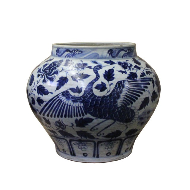 Chinese Blue White Porcelain Graphic Fat Body Vase Jar For Sale - Image 4 of 10
