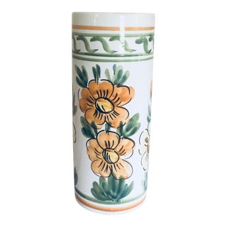 20th Century Italian Faience Hand-Painted Umbrella Stand For Sale