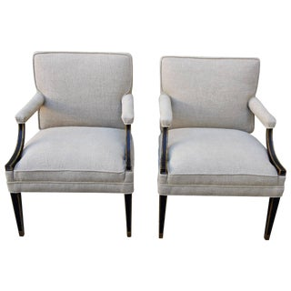 Pair of Black & Gold Regency Style Armchairs For Sale