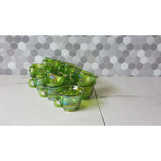 Green 1970's Vintage Indiana Glass Company of Dunkirk Green Glasses- Set of 11 For Sale - Image 8 of 11