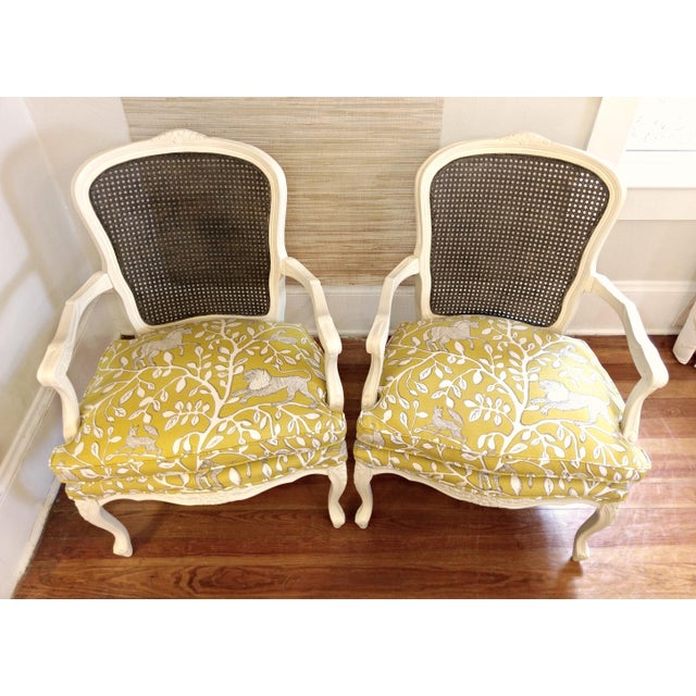 20th Century French Country Cane Back Chairs - a Pair For Sale - Image 4 of 11