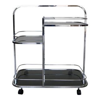 Mid-Century Modern Chrome Bar Cart For Sale