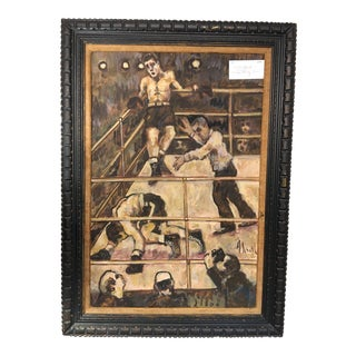 A. Smith Vintage Boxing Scene Painting