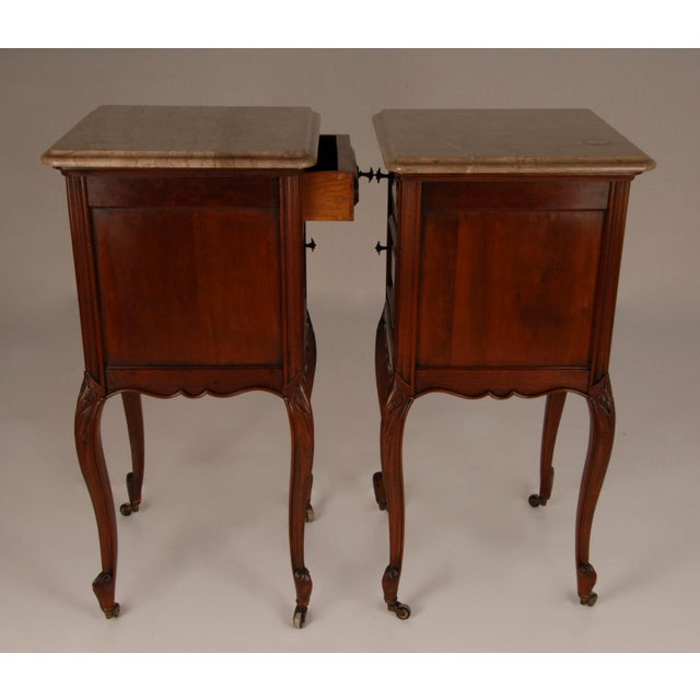 Wood French Victorian Nightstands on Castors Rose Veneer Carved Wood Marble Top - a Pair For Sale - Image 7 of 12