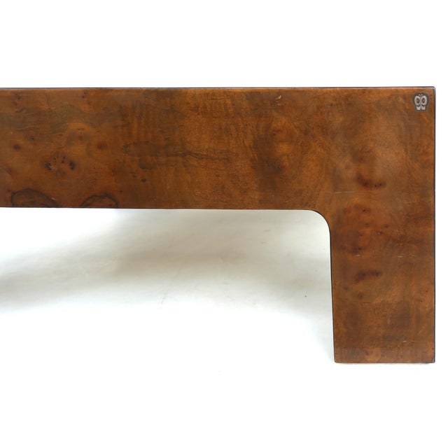 Vintage Burlwood & Beveled Glass Coffee Table For Sale In Miami - Image 6 of 9