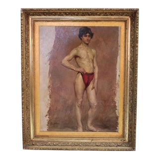 Early 20th C. Figurative Oil Painting on Canvas of Nude Male Figure Study