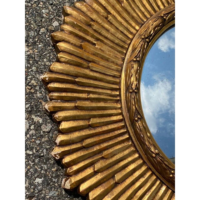 Mid-Century Modern Mid-Century Gilded Wood & Gesso Sunburst Convex Mirror For Sale - Image 3 of 7