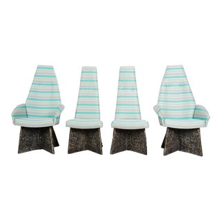 Adrian Pearsall Mid-Century Brutalist High Back Dining Chairs, Set of Four For Sale