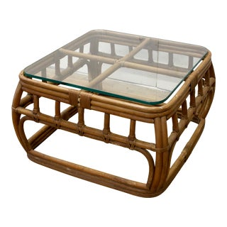 Mid-Century Bamboo Rattan Glass Top Coffee Table For Sale