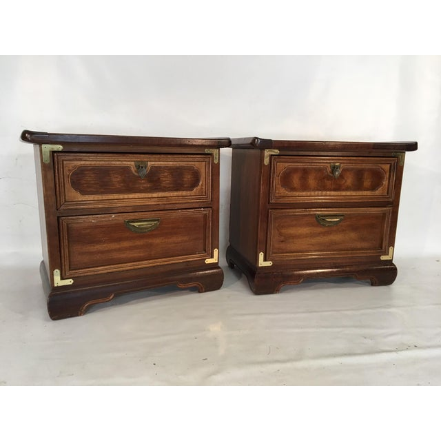 Asian Solid Wood Asian Ming Campaign Nightstands - A Pair For Sale - Image 3 of 10