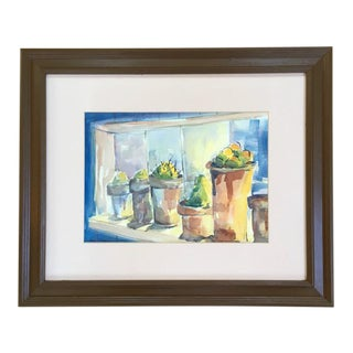 1980s Potted Succulents Still Life Watercolor Painting, Framed For Sale
