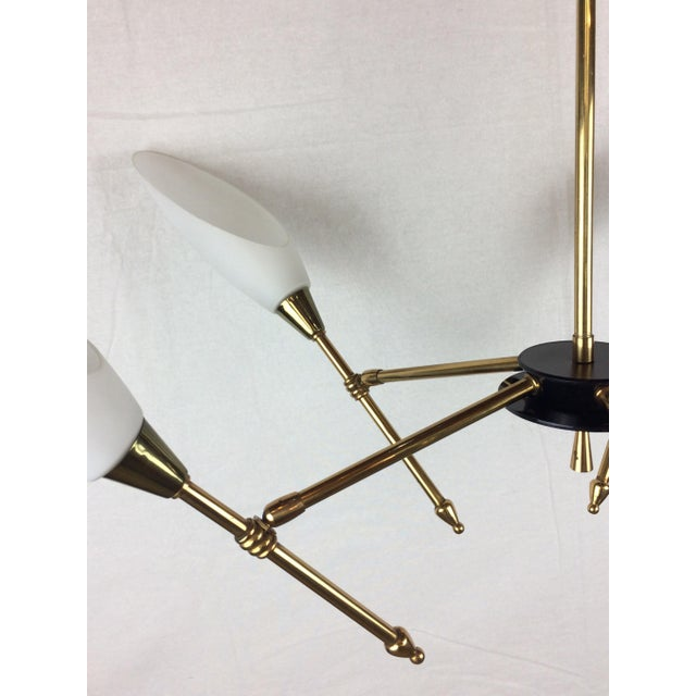 Mid-Century Glass Globe Directional Chandelier by Maison Arlus For Sale In Miami - Image 6 of 12
