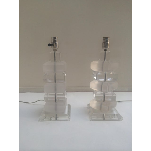 Clear & Opaque Lucite Lamps - A Pair - Image 3 of 3