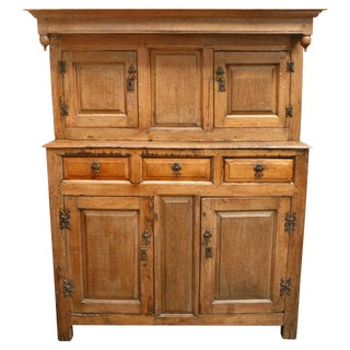 1800s English Court Oak Cupboard For Sale