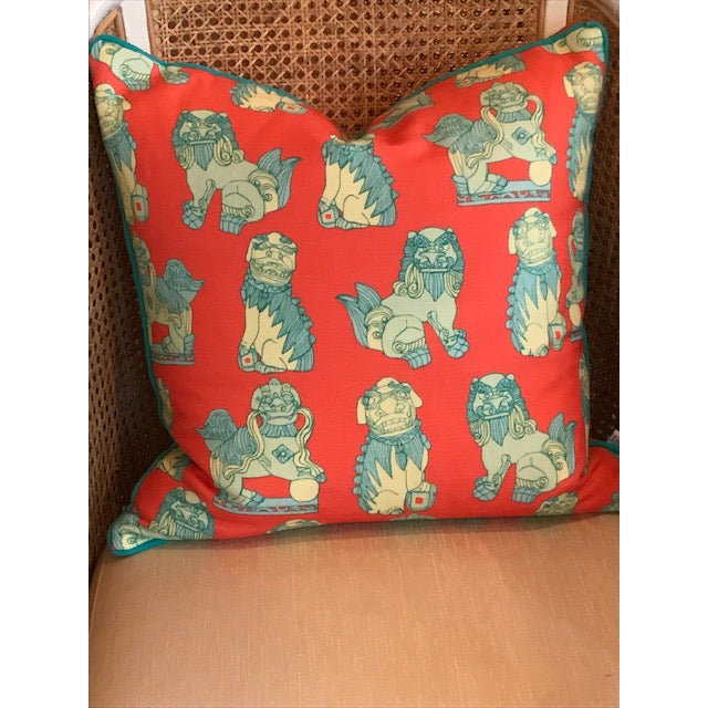 Beautiful Cotton and Quill pillow. Shi Shi pattern on lovely melon color with blue and green foo dogs. Turquoise blue...