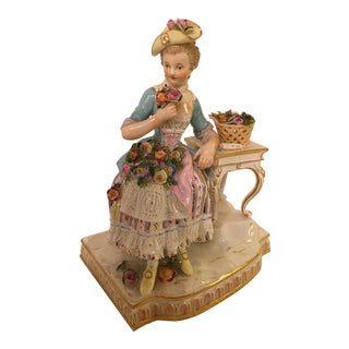Antique Meissen Woman Figurine For Sale