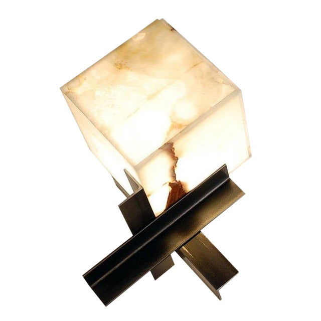 """Contemporary """"Cubyx"""" Onyx and Blackened Steel Lamp For Sale"""