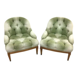Green Tufted Harvey Probber Chairs - A Pair
