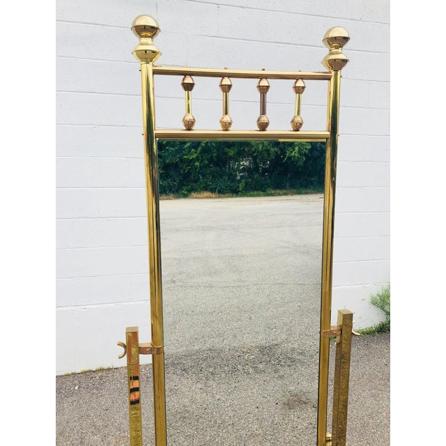 1970s Hollywood Regency Free Standing Brass Floor Mirror | Chairish