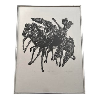 """1950s """"Horses"""" Black and White Woodcut Print, Framed For Sale"""