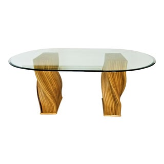 Boho Chic Gabriella Crespi Style Reeded Split Bamboo Dining Table For Sale
