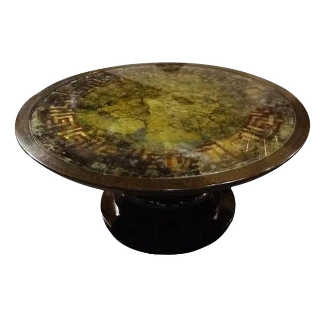 Round Cocktail Table with a Reverse Painted Glass Top, France circa 1970's For Sale