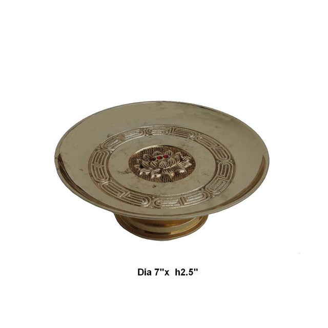 Chinese Copper Offering Plate / Candle Holder For Sale - Image 4 of 4