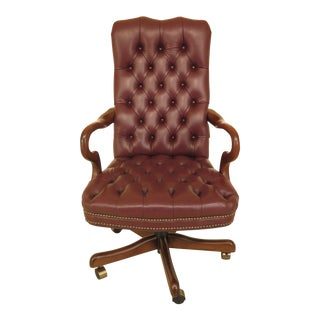 1990s Fairfield Tufted Leather Desk Office Chair For Sale