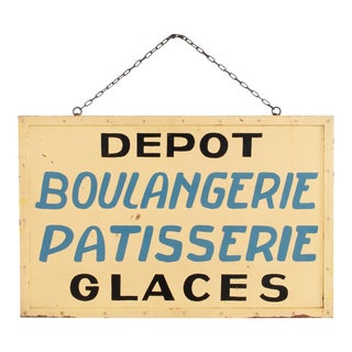 1950s Vintage Yellow French Desserts Sign For Sale