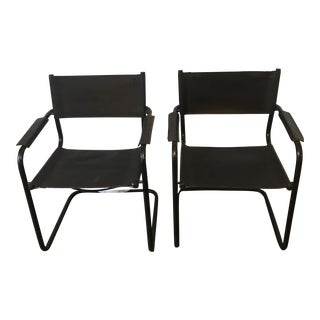 Mid-Century Modern Black Leather Sling Chairs - A Pair For Sale