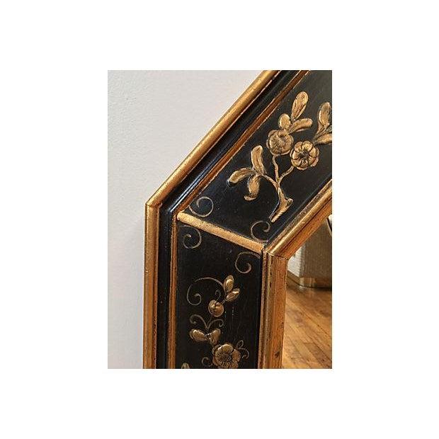 La Barge Vintage Hand Painted Black Gilded Mirror - Image 7 of 8