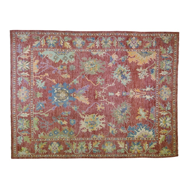 """Vintage Turkish Hand Woven Silky Soft Wool Oushak Rug,10'x13'4"""" For Sale"""