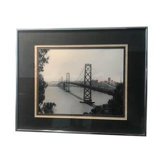 San Francisco Bay Bridge Original Black & White Photograph, Framed For Sale