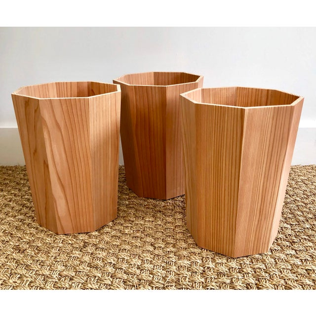 Handmade Octagonal Japanese Cedar Waste Bin For Sale - Image 4 of 5