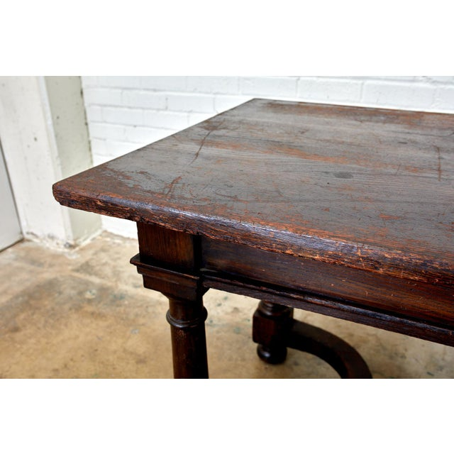 Wood 19th Century English Oak Refectory Dining Banquet Table For Sale - Image 7 of 13