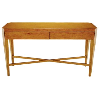 Nancy Corzine Glazed Maple X-Based Art Moderne Console Sideboard For Sale