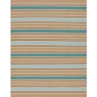 Schumacher Patterson Flynn Martin Bosun Stripe Hand Woven Wool Modern Rug For Sale