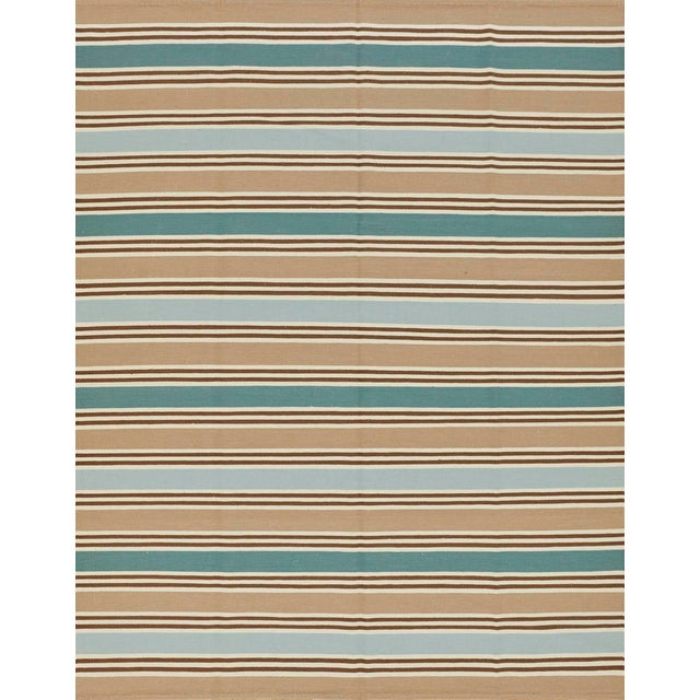 Schumacher Patterson Flynn Martin Bosun Stripe Hand Woven Wool Modern Rug For Sale