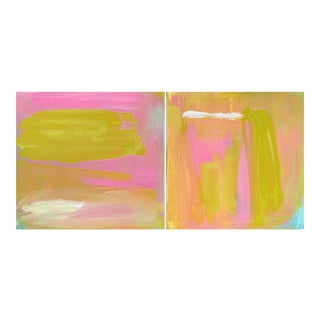 """Cloud Cover"" by Trixie Pitts Small Abstract Minimalist Diptych Oil Painting For Sale"