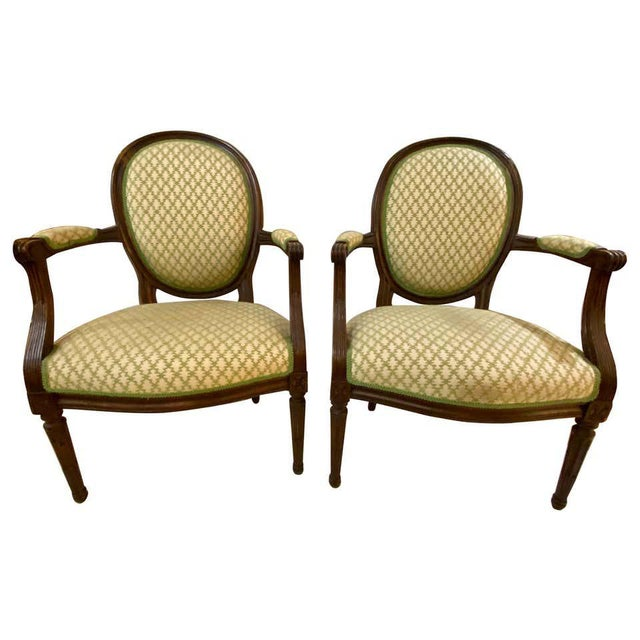 French Maison Jansen Bergeres or Armchairs in Walnut, Stamped Jansen - a Pair For Sale - Image 13 of 13