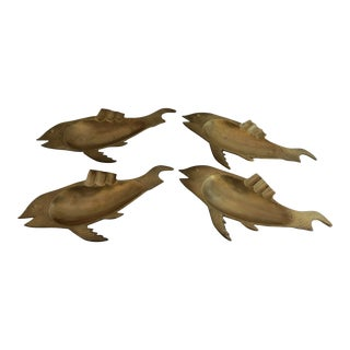 1960s Solid Brass Figural Fish Ashtrays - Set of 4 For Sale