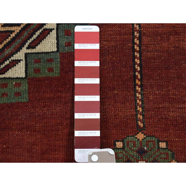 Red Antique Caucasian Kazak Hand Knotted Rug- 5′9″ × 8′5″ For Sale - Image 8 of 13