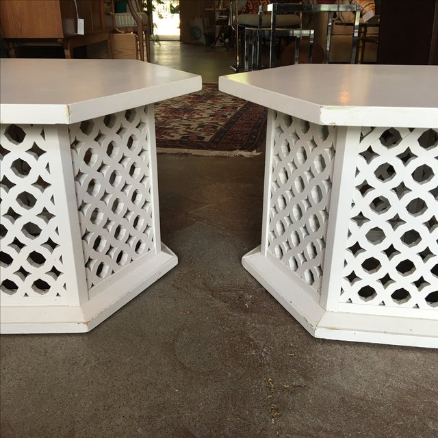 Vintage Hexagon Side Tables - A Pair - Image 4 of 6