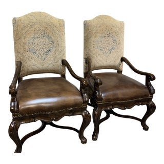 Thomasville Louis XV Style Walnut Dining Chair - a Pair For Sale