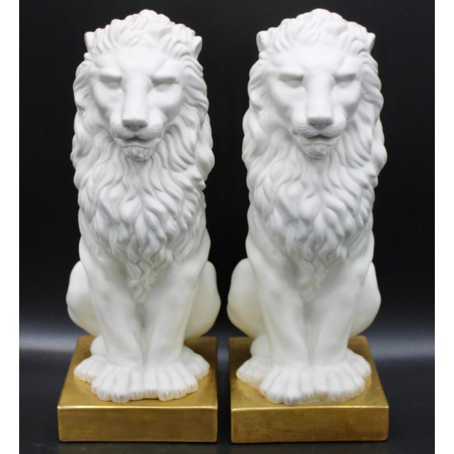 Italian Mottahedeh Ceramic Mantle Lions - a Pair For Sale - Image 13 of 13